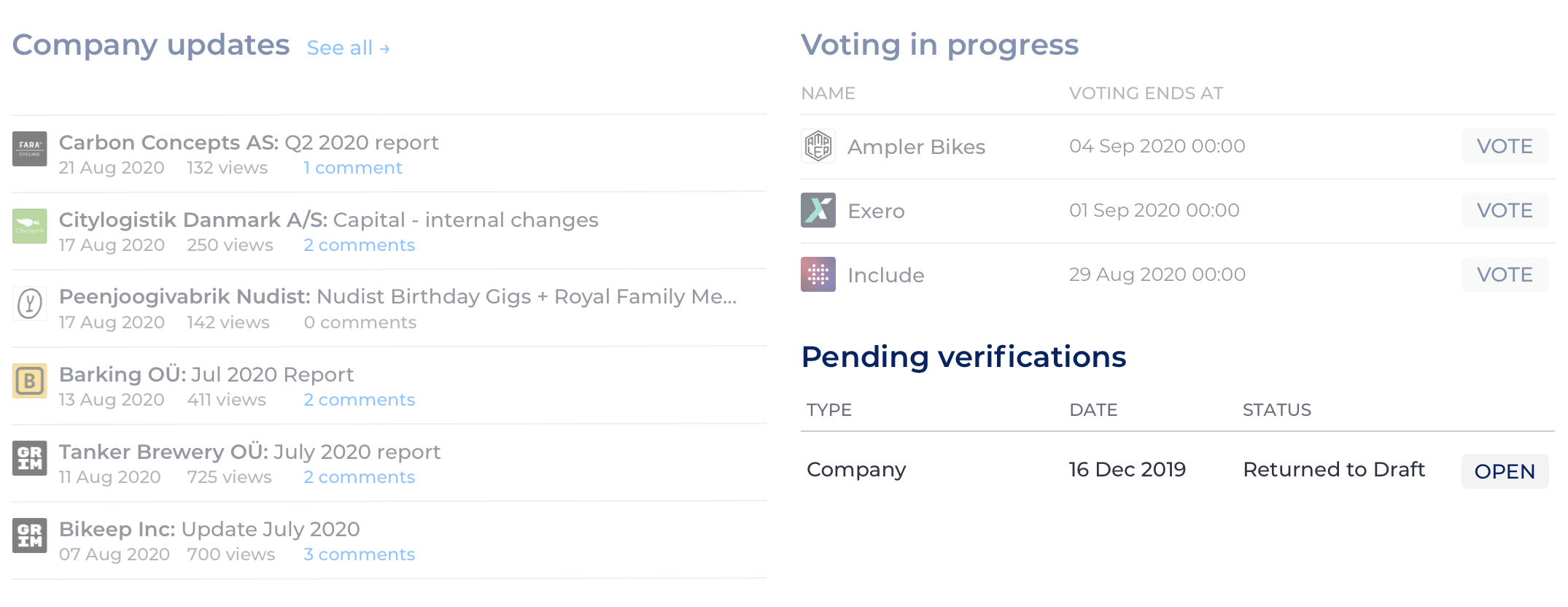Pending verifications block on the Dashboard