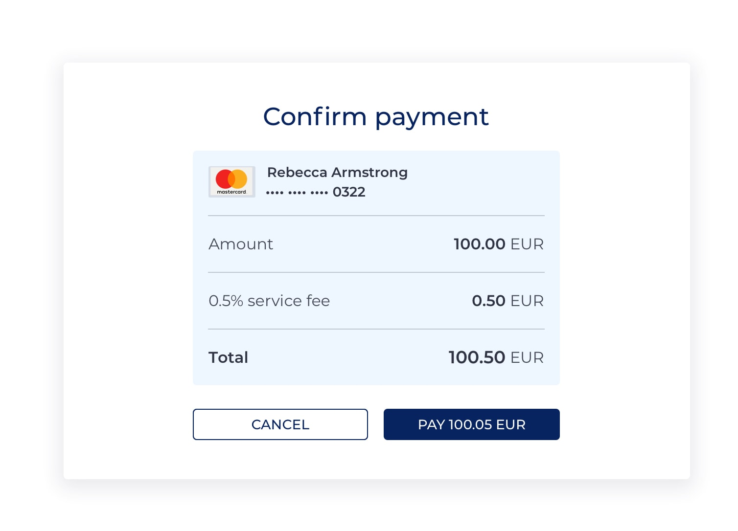 Screenshot of the Confirm payment screen