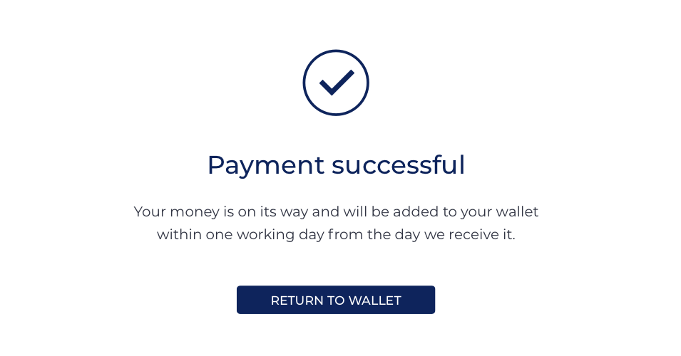 Successful payment screen