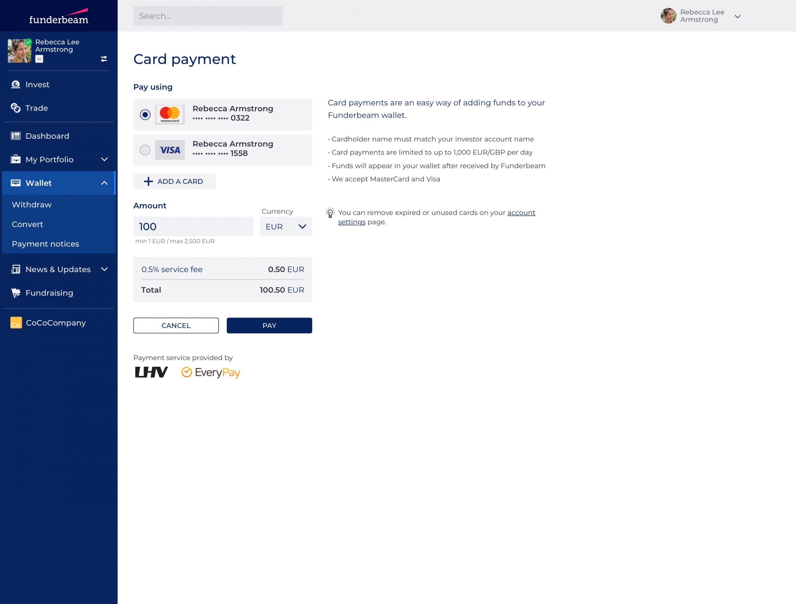 The Card payment page